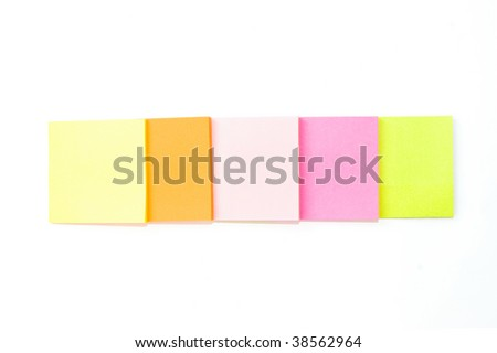 Few note papers on white background
