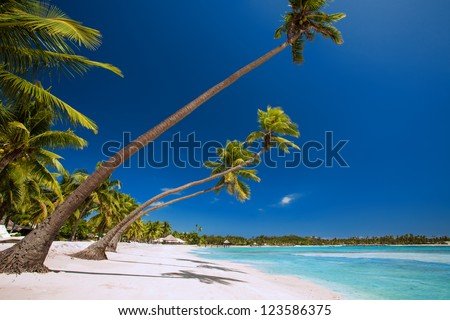 Few palm trees over stunning tropical lagoon with white beach - stock photo