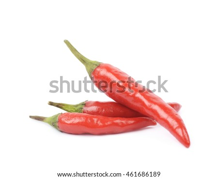 Few red italian peppers, composition isolated over the white background