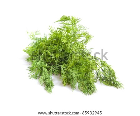few sprigs of dill on white background