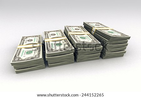 Few stacks of dollars - stock photo
