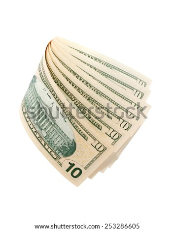 Few ten dollar bank notes on white background. Isolated with clipping path - stock photo