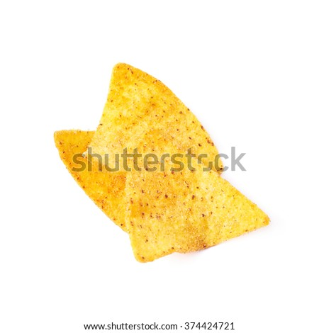 Few tortilla chips isolated