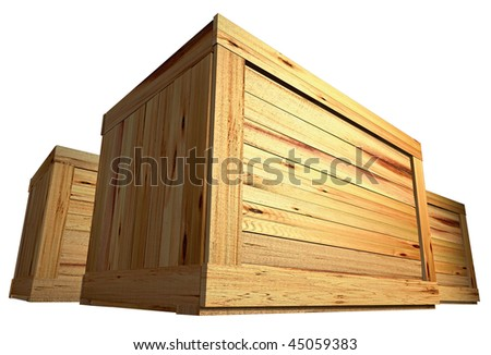 few wooden boxes on the plain background - stock photo