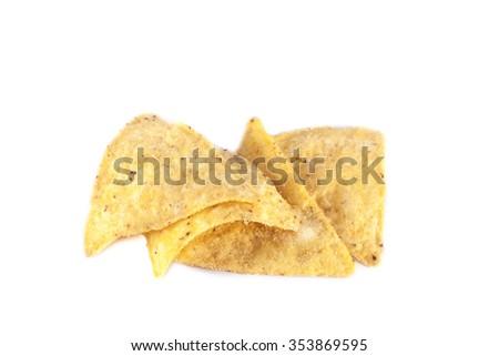 Few yellow nachos, isolated on white background - stock photo
