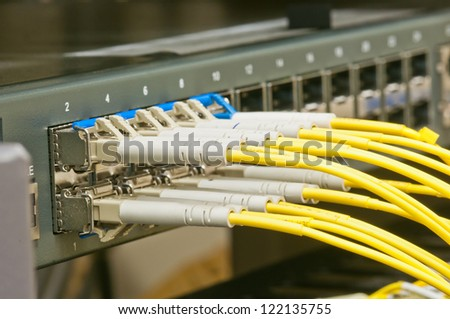 fiber connectors on switch close up