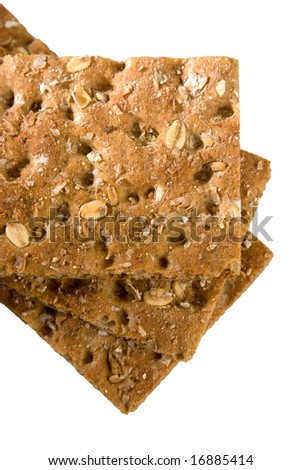 Fiber Crispbread isolated on white - stock photo