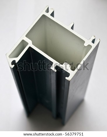 Fiber glass protruded profile for windows and doors manufacturing. Blue.