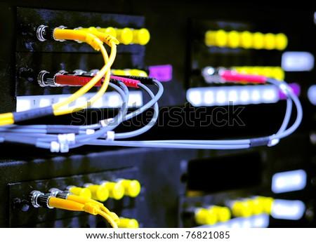 Fiber Network Server Control - stock photo