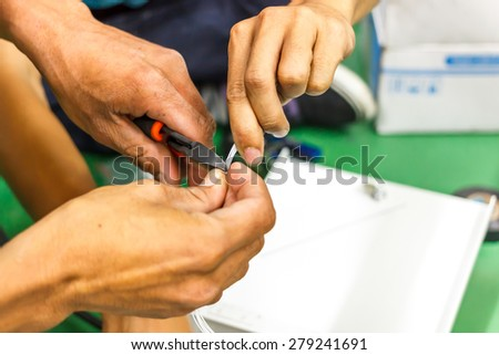 fiber optic cable install - stock photo