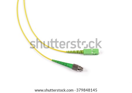Fiber optic cable isolated on the white background with copy space