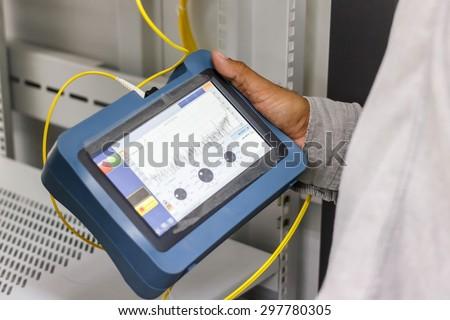 fiber optic cable testing  - stock photo