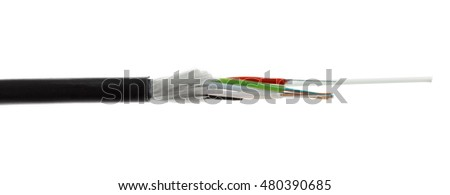Fiber optic, optical cable detail isolated on white background. Loose tubes with optical fibres and central strenght member including waterblocking glass yarn and ripcord, multimode or single mode