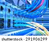 fiber optic servers and hardwares in an internet data center - stock photo