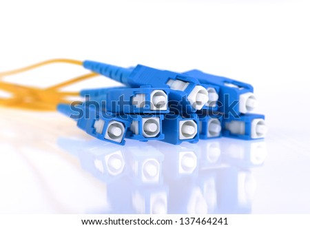 fiber optical network cable - stock photo