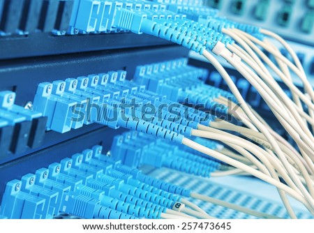 fiber optical Network connection - stock photo