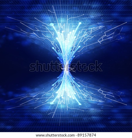 fiber optics and circuit board ,technology background - stock photo