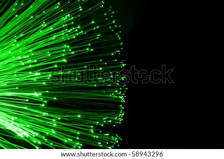 fiber optics cable from modern computer comminication technology - stock photo