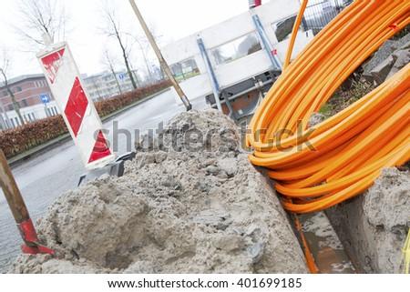 Fiberglass cable outside - stock photo