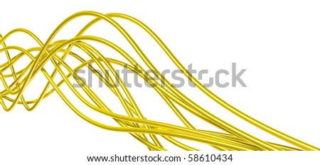 fibre-optical  yellow metallic cables on a white background - stock photo