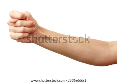Fico gesture of a hand. Cock a snook.  Arm making fig, a gesture of contempt. Isolated on white background. Alpha.  - stock photo