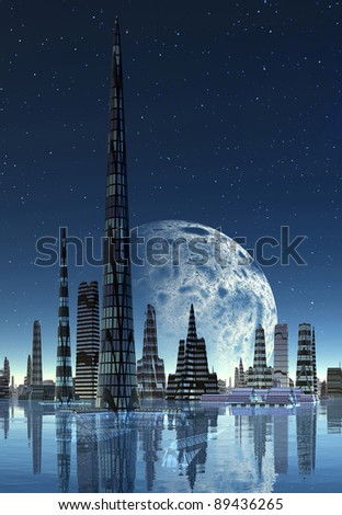 Fictional City Skyline, 3d rendered skyline on an alien planet, with a moon and stars, without clouds - stock photo
