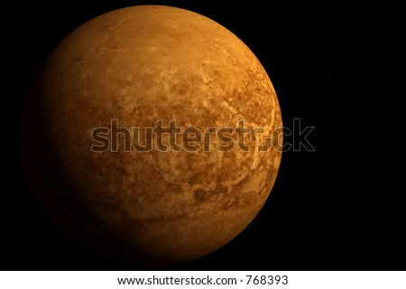 Fictional 3D planet over a sea of distant stars - stock photo