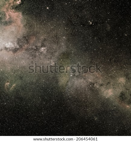 Fictional deep and dark universe with elements furnished by NASA - stock photo