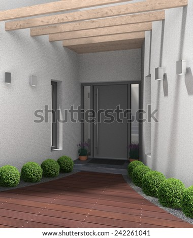 fictitious 3D rendering of a modern home entrance - stock photo