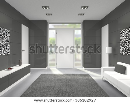 fictitious 3D rendering of a modern lobby interior with front door - stock photo
