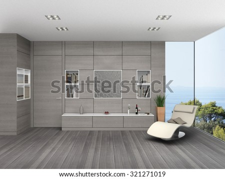 fictitious 3D rendering of a modern seaside living room