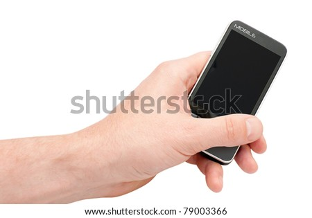 Fictitious Mobile Smartphone in hand with clipping path - stock photo