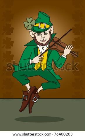 Fiddle-Playing Leprechaun - Raster Version - stock photo