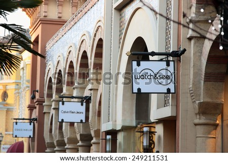 FIDENZA, ITALY - JANUARY 3, 2015: Brand stores in Fidenza outlet village, Italy on January 3, 2015. - stock photo