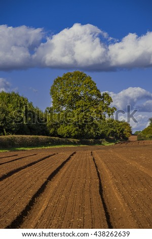 field agriculrural landscape UK - a view across farmland in the english midlands, worcestershire UK - stock photo