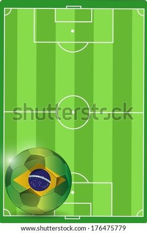 field and brazil soccer ball illustration design graphic - stock photo