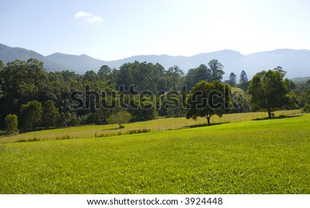 Field and mountains in the Promised Land near Bellingen Australia - stock photo