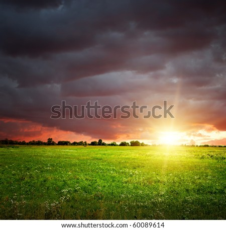 Field and sky with heavy dark clouds. Sunset landscape.