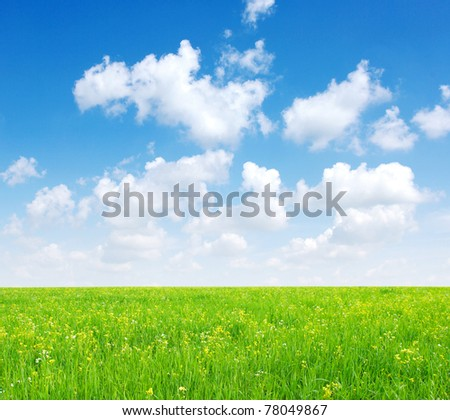 field  and white clouds - stock photo