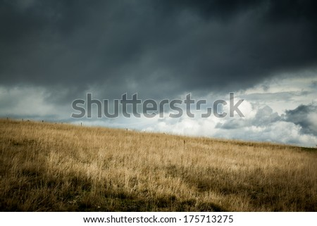 Field before storm with dark clouds