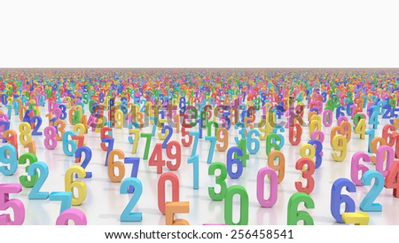 Field covered by endless colored numbers  - stock photo