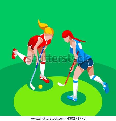 Field Hockey Girl Player 2016 Summer Games Icon Set.3D Isometric Field Hockey.Sporting Championship Female Field Hockey Match Competition.Sport Infographic olympics Field Hockey Illustration. - stock photo