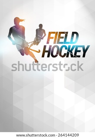 Field hockey sport invitation poster or flyer background with empty space