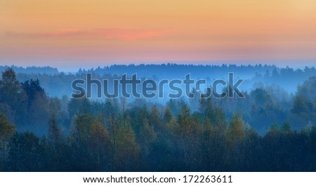 Field in the morning during Fall season - stock photo