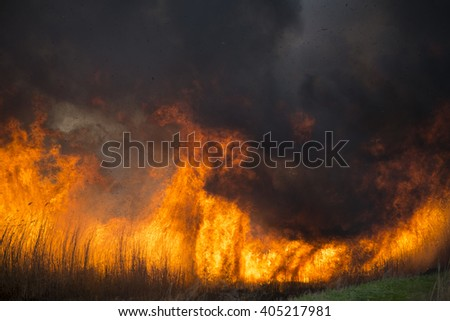 field in uncontrolled fire with black smoke