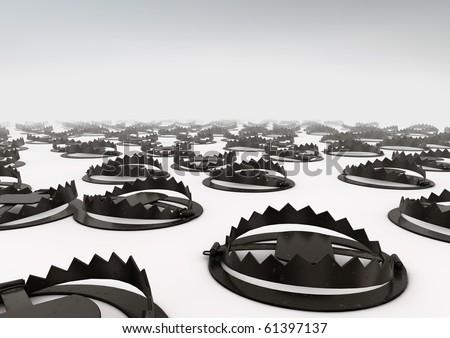 Field of bear traps - stock photo