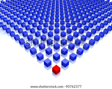 field of blue cubes with one red on the corner - stock photo