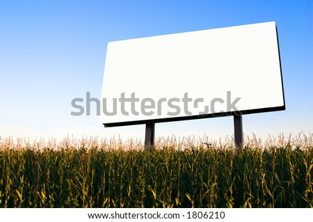 Field of Corn and a billboard in the early evening sun - the golden hour. - stock photo
