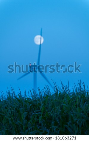 Field of corn with a wind turbine and moonrise behind it in Dexter, Minnesota. - stock photo