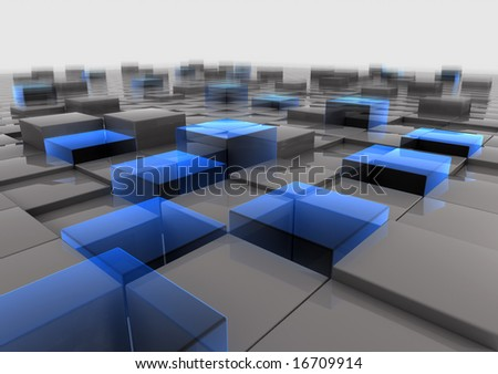 Field of cubes with glas elements - stock photo